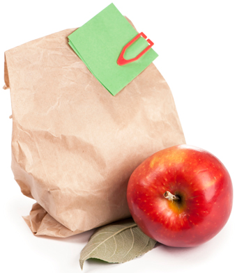 Lunch bag with an apple